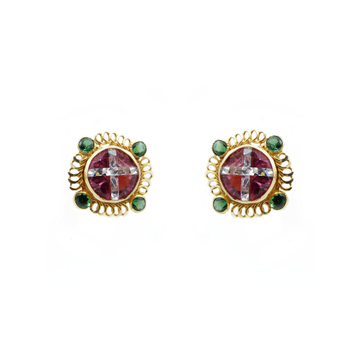 18K Gold Colour Stone Fancy Tops by
