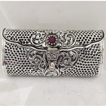 maanniya pure silver clutch in net motifs n gemsto...