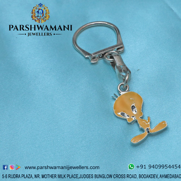 92.5 Sterling Silver Twitty Design Keychain
