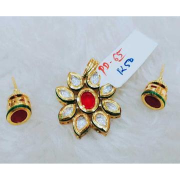 Pink and white bikaneri kundan flower design pendant and earring set1067
