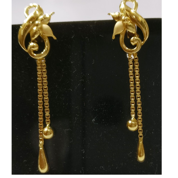 22kt gold plain casting fancy earrings with Chain Tassels