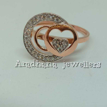 18KT Rose Gold Heart Shaped Ladies Wedding Ring