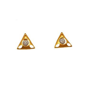 22K Gold Triangle Shape Modern Earrings MGA - BTG0...