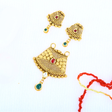 916 Gold Antique Pendant Set PSG - 0111