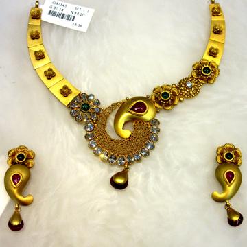 Gold hm916 asymmetrical designer jadtar necklace s... by