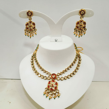 2line Bikaneri d.c.kundan set with pink choki stone product number 1123
