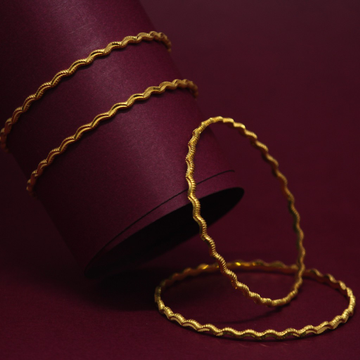 916 Hallmarked Curve Design 4 Bangles Set by Simandhar Jewellers