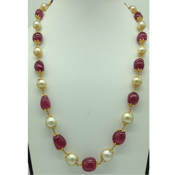 CreamSouth Sea Round Pearls With Ruby Oval Tumbles Gold Taar Necklace JGT0005