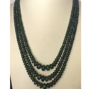 Natural green emerlads round graded beeds 3 layers necklace