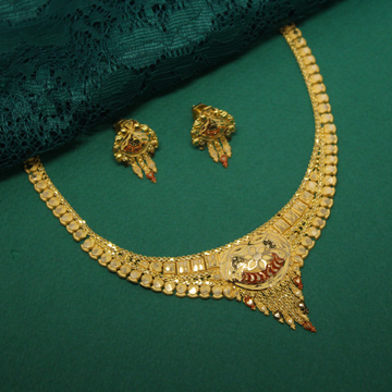 22kt hallmarked necklace with earrings by Simandhar Jewellers