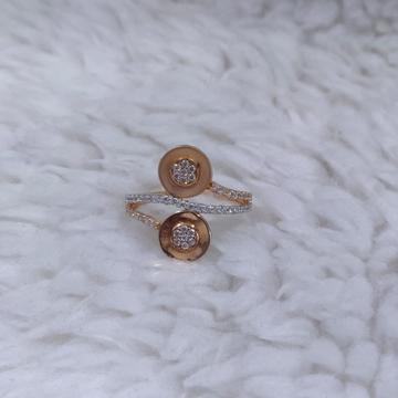 18KT Rose Gold Cz Stone Fancy Ring For Women