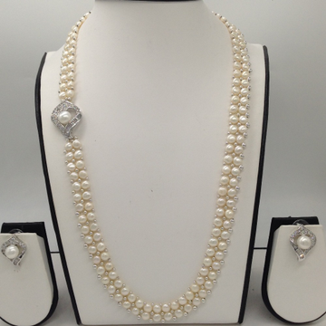 White CZ And Pearls BroachSet With 2Line ButtonJali Pearls Mala JPS0197