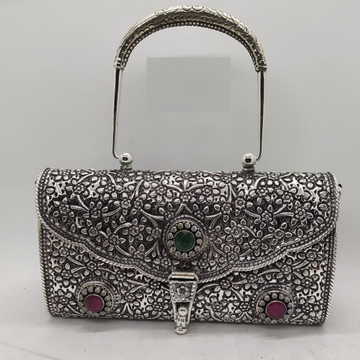 blissful floral motifs with gemstone hand bag in p...