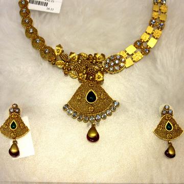 Gold Vine Design Antique Jadtar Necklace by