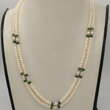 Freshwater White Flat Pearls 2 Layers Necklace With CZ White Chakri And Green Semi Beeds JPM0341