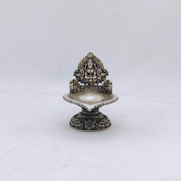 hallmarked Silver Kamakshi Lamp with Peacocks in A...