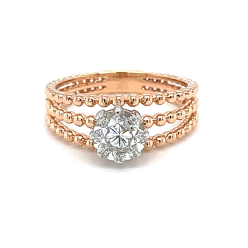 Three Lines Solitaire Effect Ring in Rose Gold - 0...