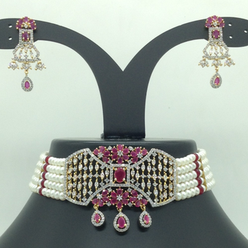 White,Red CZChoker Set With 5Line FlatPearls Ma...