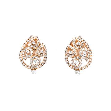 Petal shaped diamond studs in hallmark rose gold 0...