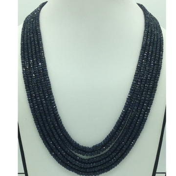 Natural Blue Sapphires Round Faceted 6Layers Neck...