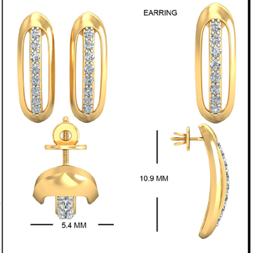 22Kt Yellow Gold Heliconia Earrings For Women