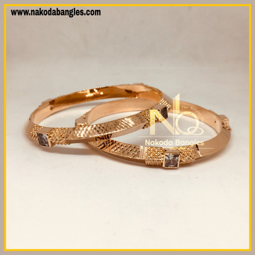 916 Gold Rose Gold Stone Fancy Bangles NB - 449