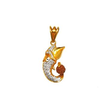22K Gold Ganesh Rudraksh Pendant MGA - PDG0001