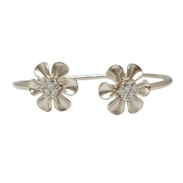 925 Sterling Silver Flower Shaped Designer Bracelet MGA - BRS1739