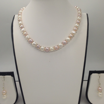 Freshwater WhiteAnd Pink Button Pearls 1Lines Necklace Set JPP1022