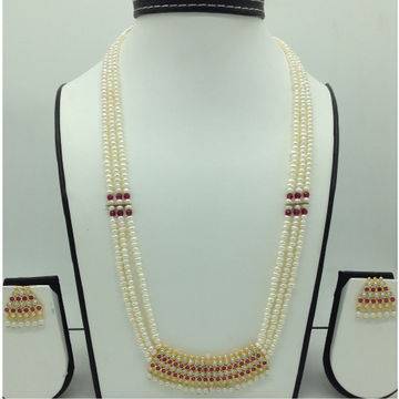 RedCZ and PearlsPendent Set With FlatPearls Mal...