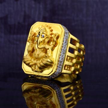 Mens Exclusive Heavy God Ganpati Gold Ring-MGR40