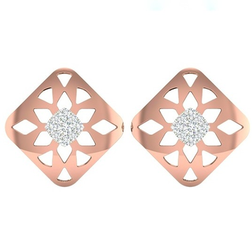 18k rose gold white gold real diamond square shape earring mga - rde004