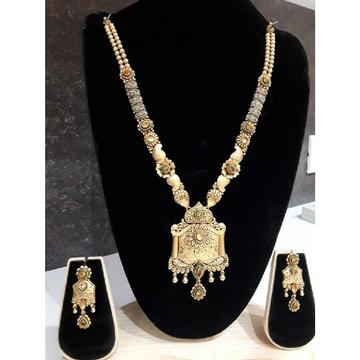 22KT Antique Jadtar Long Gold Necklace Set