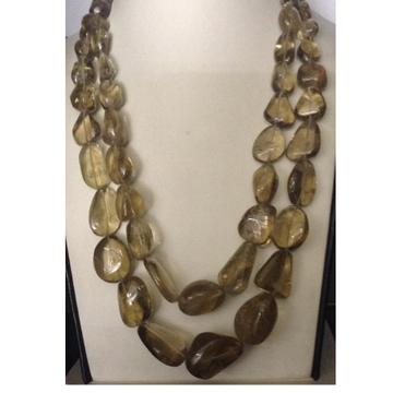 Natural Golden Transparent Citrine Oval Tumbles 2 Layers Neckalce