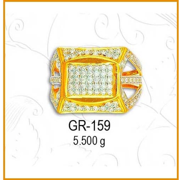 916 Gold Fancy CZ Diamond Gents Ring GR-159