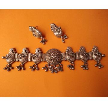 Puran Antique Silver Rajputana Necklace Set inPea...