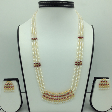 Red,White CZ and Pearls Pendent Set With Flat Pearls Mala JPS0603