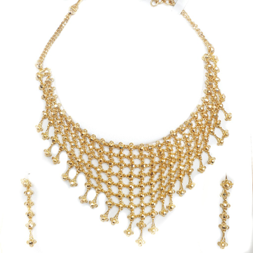 22k plain gold darbari ghat necklace set mga - gn081