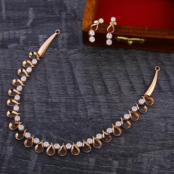 18CT Rose Gold Diamond Necklace Set RN158