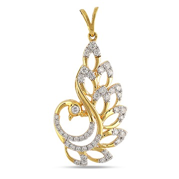 22kt gold and diamond peacock shaped pendant jkp004
