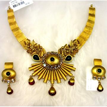 Floral designer unique gold 22k necklace set by