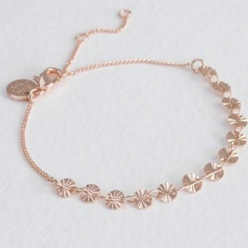 18kt rose gold rounds pattern fancy and delicate chain bracelet for women jkb028
