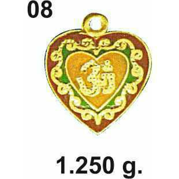 916 Gold Heart Design Om Pendant DC-P08