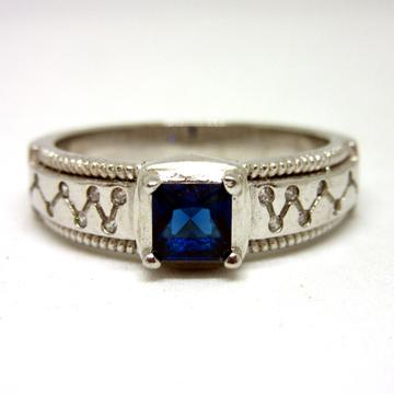 Silver 925 squre blue stone ring sr925-41