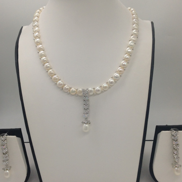 WhiteCZ And Pearls PendentSet With 1Line ButtonJali Pearls Mala JPS0413