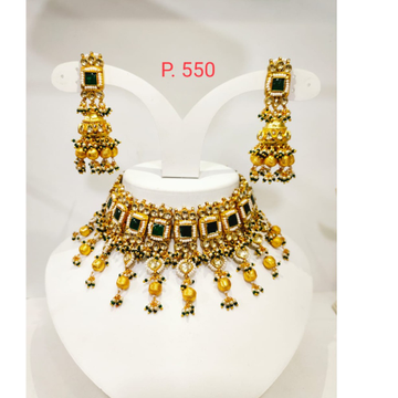 Square shape emerald with handing golden beads with kundan work design necklace 1233