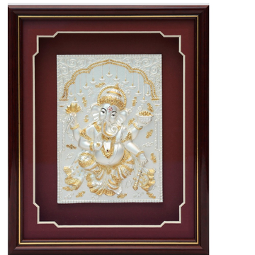 Dancing ganesha 999 pure silver god photo frame