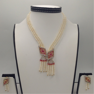White And Red CZ PendentSet With 3Line FlatPearls Mala JPS0352