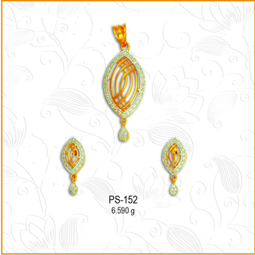 916 Gold Fancy Oval Shape CZ Pendant Set PS-152