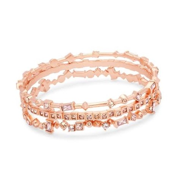 18kt rose gold and diamond square patterned bracelet for women jkb028